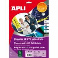 APLI 10328. Blister 10 hojas A4 etiquetas CD-DVD MEGA glossy (ø 117 mm.)