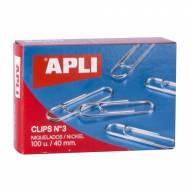 APLI 11712. Caja de clips niquelados nº 3 (40 mm.)