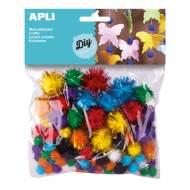 APLI 13062. Pompones brillantes para manualidades. Colores y tamaños surtidos (78 und.)