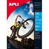 APLI 04134. Papel fotográfico Glossy Photobasic A4 135 g. 60 Hojas