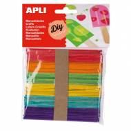APLI 13064. Palos de polo para manualidades de colores surtidos (50 und.)