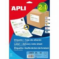 APLI 12870. Blister 20 hojas A4 etiquetas opacas (182,0 X 120,0 mm.)