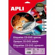 APLI 10601. Blister 25 hojas A4 etiquetas CD-DVD MEGA dorso opaco (ø 117 mm.)