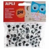 APLI 13263. Ojos para manualidades adhesivos redondos negros (100 und.)