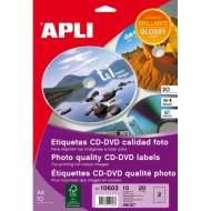 APLI 10603. Blister 10 hojas A4 etiquetas CD-DVD MEGA glossy inkjet (ø 117 mm.)