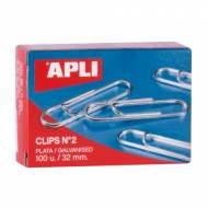 APLI 11714. Caja de clips plateados nº 2 (32 mm.)