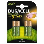 DURACELL HR03. Pilas recargables AAA 750 mAh. Blister 4