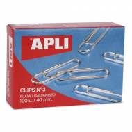 APLI 11715. Caja de clips plateados nº 3 (40 mm.)