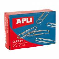 APLI 11716. Caja de clips plateados nº 4 (50 mm.)
