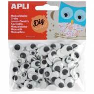 APLI 13264. Ojos para manualidades adhesivos ovalados (100 und.)