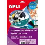 APLI 11204. Blister 10 hojas A4 etiquetas DVD inkjet (ø 117 mm.)