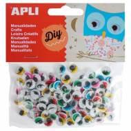 APLI 13265. Ojos para manualidades adhesivos con pestañas (100 und.)