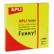 APLI 11897. Notas adhesivas Funny amarillo brillante 100 hojas (75 x 75)
