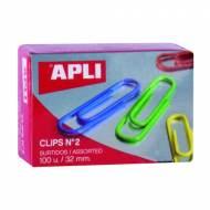 APLI 11723. Caja de clips de colores nº 2 (32 mm.)
