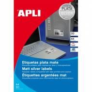 APLI 10070. Blister 20 hojas A4 etiquetas color plata (63,5 X 29,6 mm.)