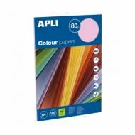 APLI 15282. Papel de 80 gr. color rosa pastel (100 hojas)