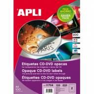 APLI 11704. 100 hojas A4 etiquetas CD-DVD opacas (ø 117 mm.)