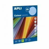 APLI 15283. Papel de 80 gr. A4 color azul pastel (100 hojas)