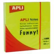 APLI 11899. Notas adhesivas Funny verde brillante 100 hojas (75 x 75)