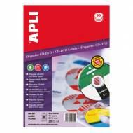 APLI 2899. Blister 25 hojas A4 etiquetas CD-DVD dorso opaco (ø 114 mm.)