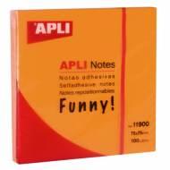 APLI 11900. Notas adhesivas Funny naranja brillante 100 hojas (75 x 75)