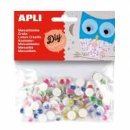 APLI 13266. Ojos para manualidades adhesivos de colores surtidos (100 und.)