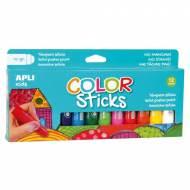 APLI 14228. Blister témperas sólidas Color Sticks colores surtidos (12 x 10 gr.)