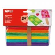 APLI 13269. Palos de polo jumbo para manualidades colores surtidos (40 und.)