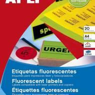 APLI 14597. Etiquetas rojo fluorescente permanentes Ø 45,0 mm 20 hojas