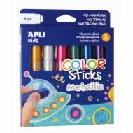 APLI 14405. Blister témperas sólidas Color Sticks colores metalizados (6 x 6 gr.)