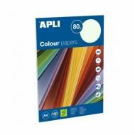 APLI 15284. Papel de 80 gr. color verde pastel (100 hojas)