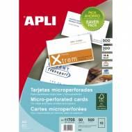 APLI 11705. Tarjetas de visita microperforadas. Pack ahorro 50 hojas A4