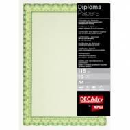 APLI 11969. Papel certificados y diplomas Concha verde esmeralda (10 hojas)