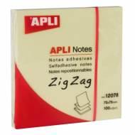 APLI 12078. Notas adhesivas ZigZag 100 hojas (75 x 75)