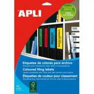 APLI 11834. Caja 100 hojas A4 etiquetas color amarillo (70 X  37 mm.)
