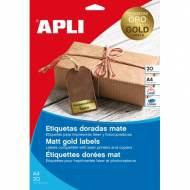 APLI 14887. Blister 20 hojas A4 etiquetas color oro (63,5 X 29,6 mm.)