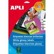 APLI 10065. Blister 10 hojas A4 de etiquetas GLOSSY (199,6 X 289,1 mm.)