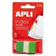 APLI 12612. Indices adhesivos ZigZag color verde (45 x 25)