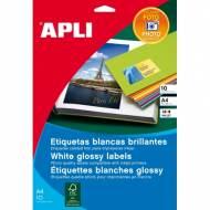 APLI 2922. Blister 10 hojas A4 de etiquetas GLOSSY (88,9 X 127,0 mm.)