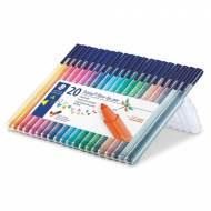 STAEDTLER 323 SB20. Estuche 20 rotuladores de punta de fibra triplus color. Colores sutidos