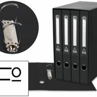 Liderpapel MD42. Módulo negro 4 archivadores folio 2 anillas mixtas 25 mm
