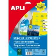 APLI 10370. Carpeta 20 hojas A4 etiquetas LC amarillo fluor (ø 35 mm.)