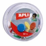 APLI 11733. Caja de 50 chinchetas de colores (ø 10 mm.)