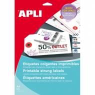 APLI 10234. Etiquetas colgantes imprimibles (36 x 53 mm.) Blister 10 hojas A4