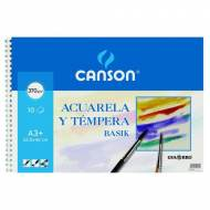 GUARRO CANSON Papel dibujo acuarela y témpera, 370 g. Bloc 10 hojas, A3+ - 200400697