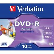 VERBATIM Pack 10 DVD+R 16x Advanced AZO 4,7GB Imprimible - 43508