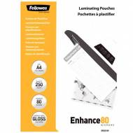 Fellowes 5312903. Pack 250 Fundas Plastificar Económicas 80 micras A4