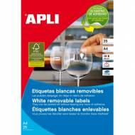 APLI 10314. Blister de 25 hojas A4 de etiquetas blancas (45 X 8 mm.) Joyería