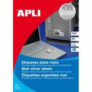 APLI 12974. Caja 100 hojas A4 etiquetas color plata (210,0 X 297,0 mm.)