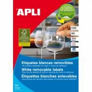 APLI 3052. Caja 100 hojas A4 de etiquetas ILC removibles (38,0 X 21,2 mm.)